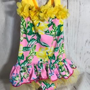 Hawaiian one piece pink yellow flowers at neck